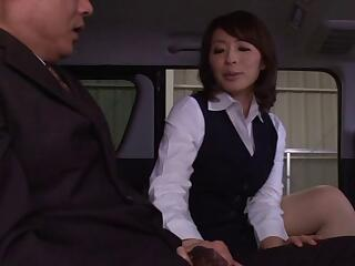 Charming Asian Dame Giving Her Horny Guy Blowjob In The Bus