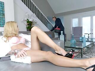 Busty cougar fucked and jizzed on feet